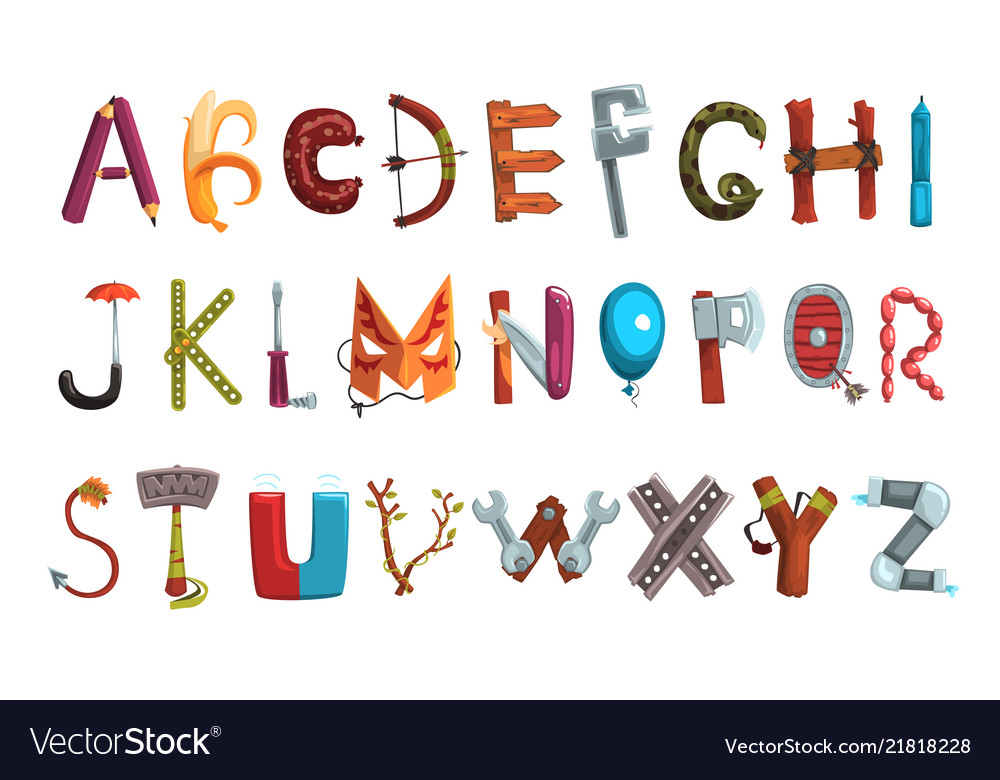 Letter Made Out Of Objects.Collection Of Letters Made Of Various Objects