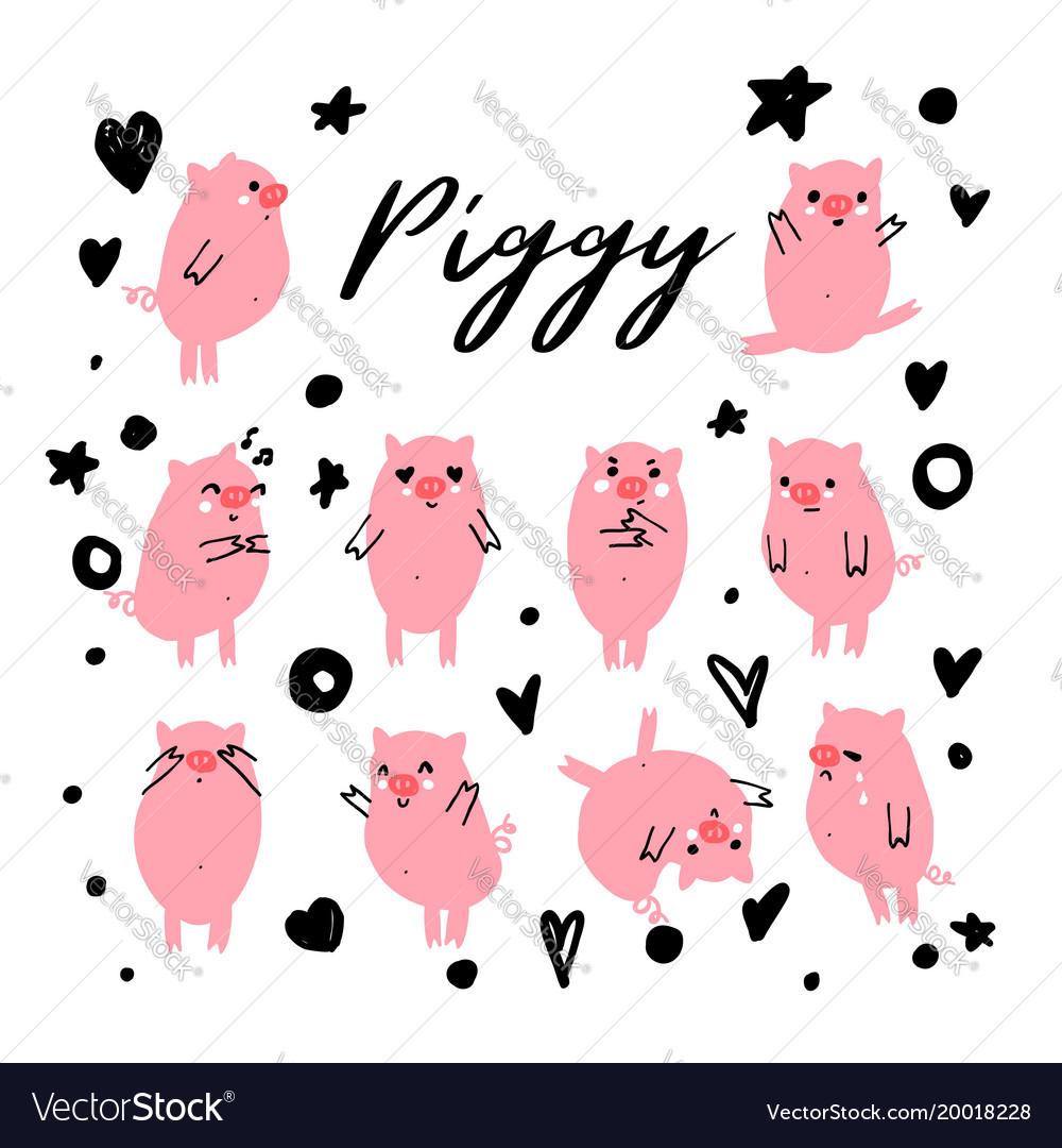 Cute piggy character set of emotional pig