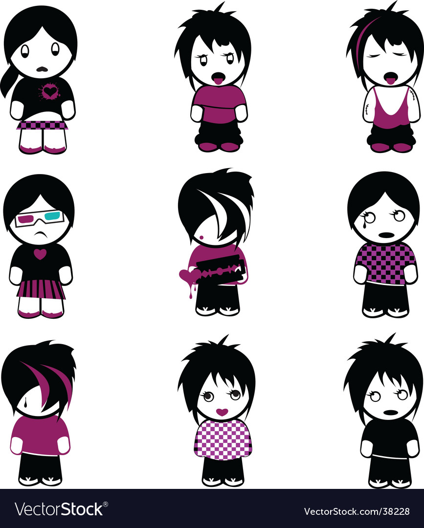 Emo kids vector image