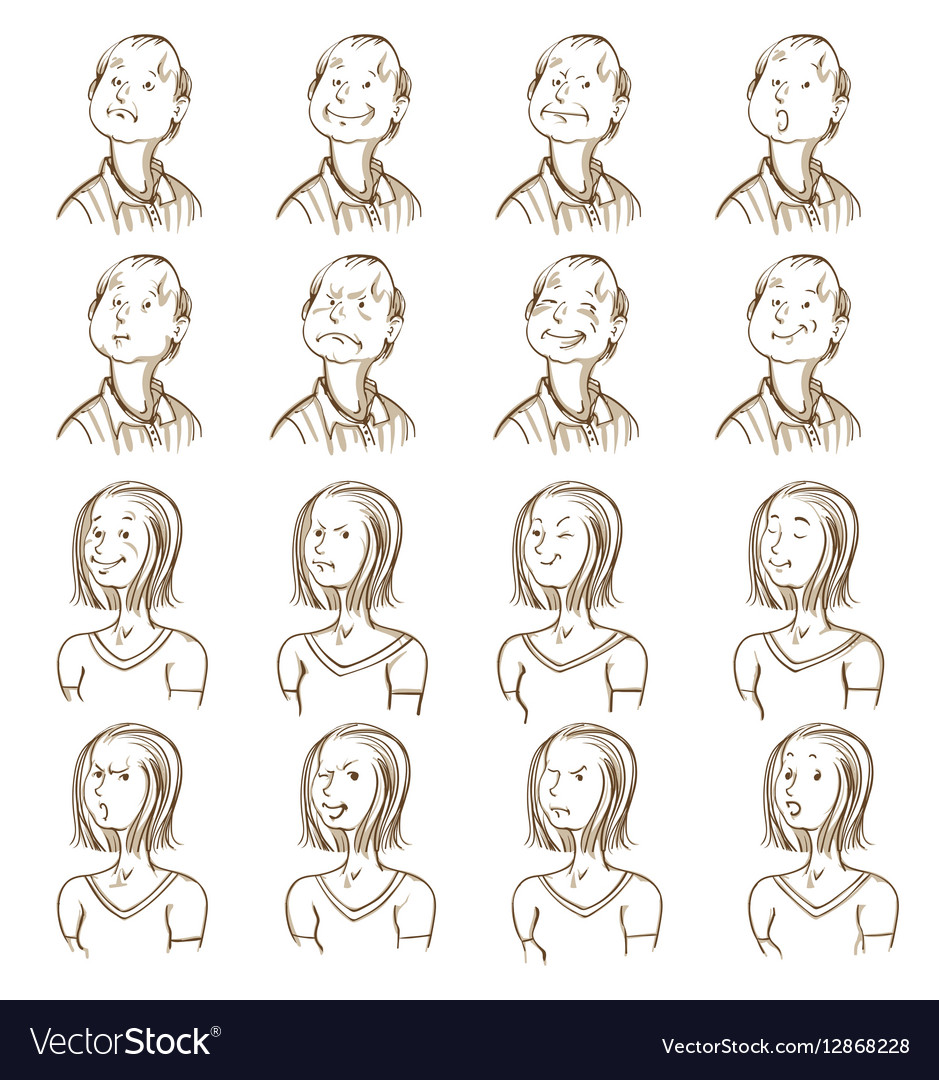 Facial expressions collection vector image