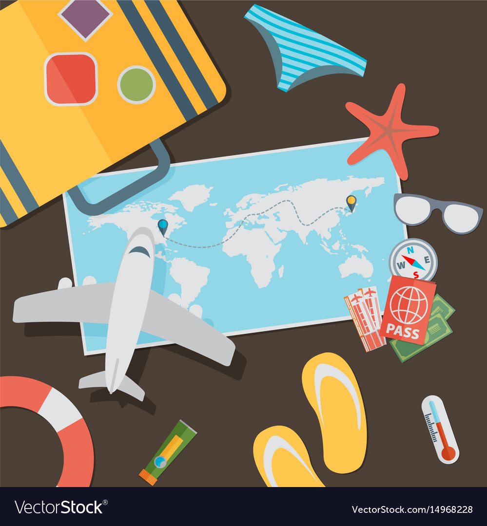 Flat travel with airplane design concept