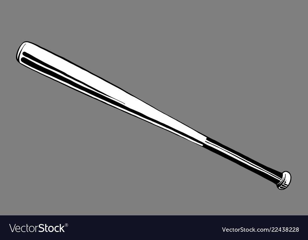 Hand drawn sketch of baseball bat in black on grey