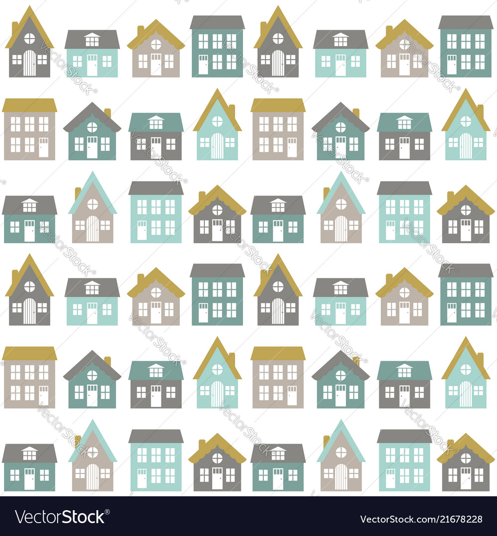 Modern seamless childish pattern with cute houses