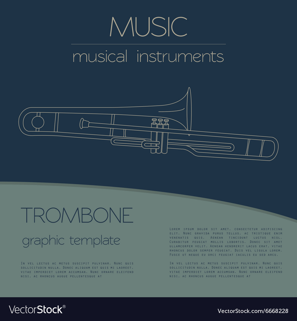 Musical instruments graphic template Trombone