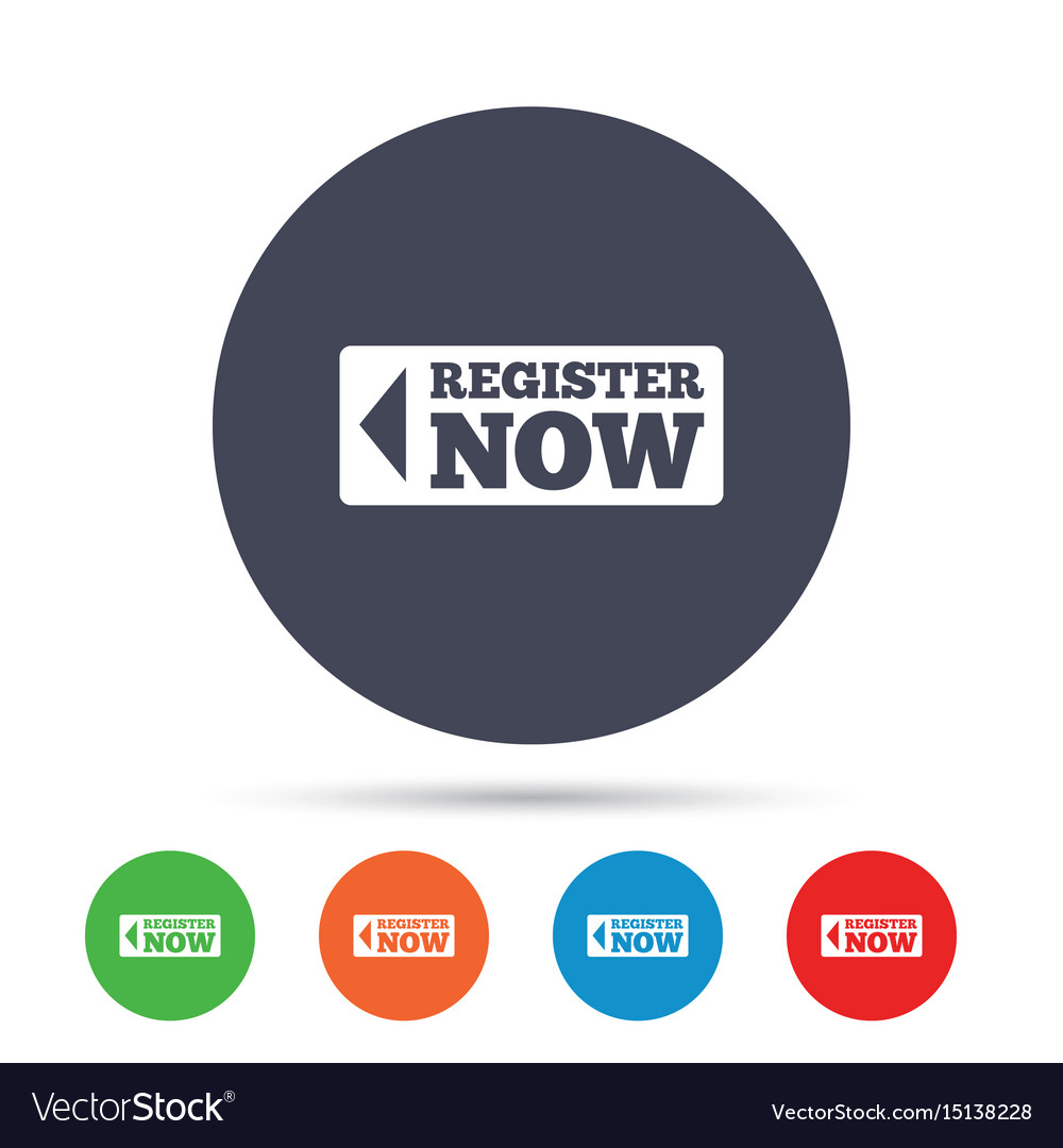 Register now sign icon join button symbol