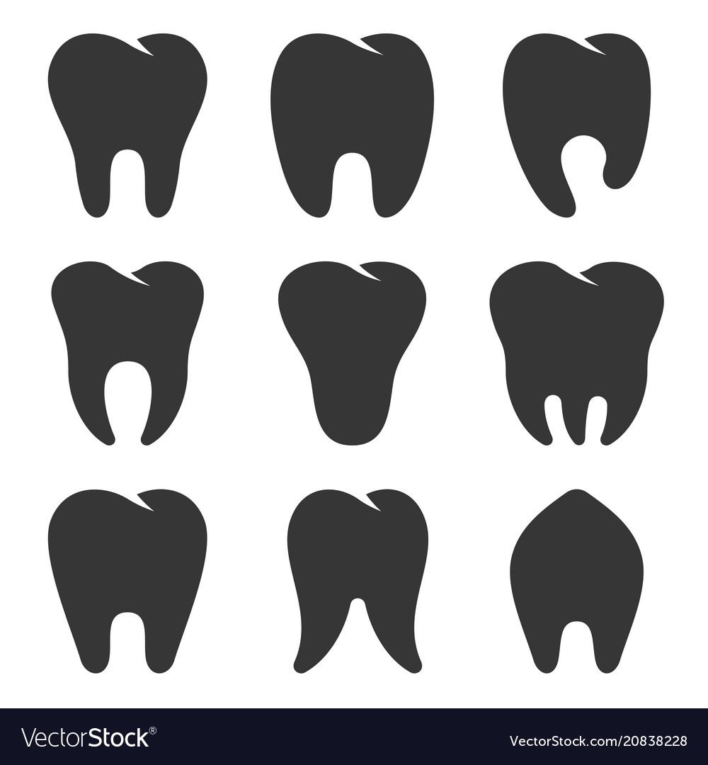 Teeth type icons set on white background