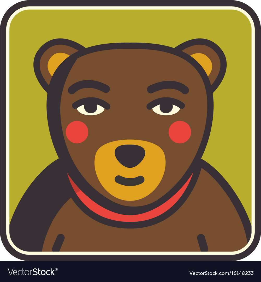 Bear face flat icon animal icons series bear