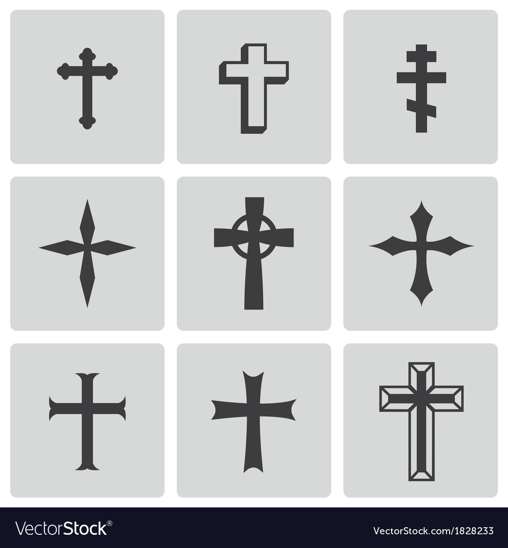 Black christia crosses icons set