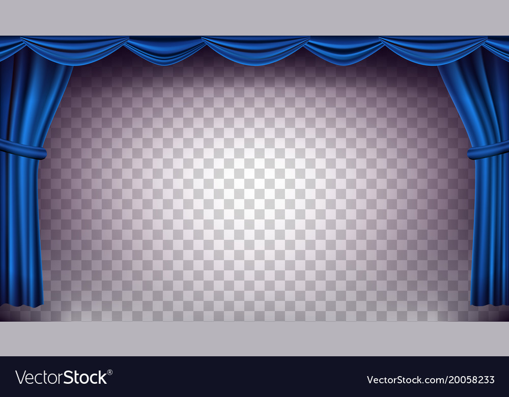 Blue theater curtain transparent Royalty Free Vector Image