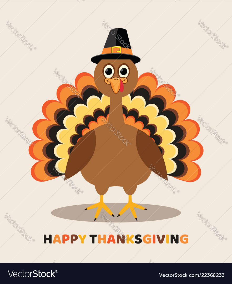 Card for thanksgiving day with cartoon turkey