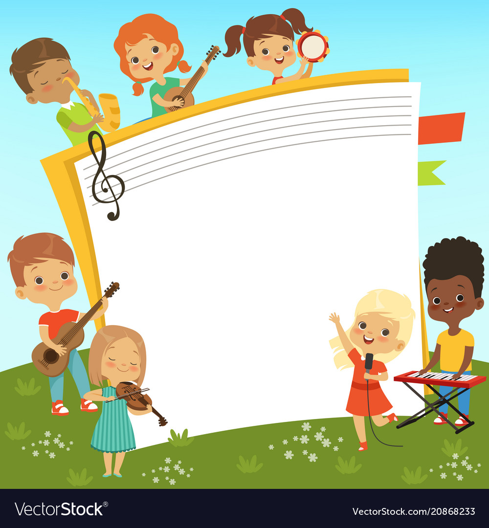 Cartoon frame with musician childrens and empty