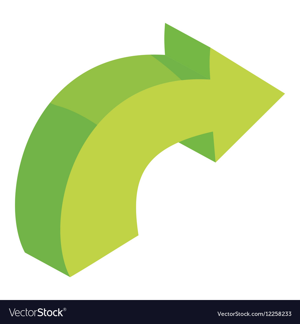 Green curved right arrow icon cartoon style vector image
