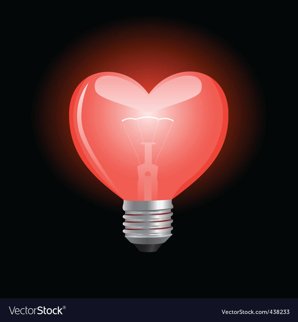 Heart shaped bulb vector image