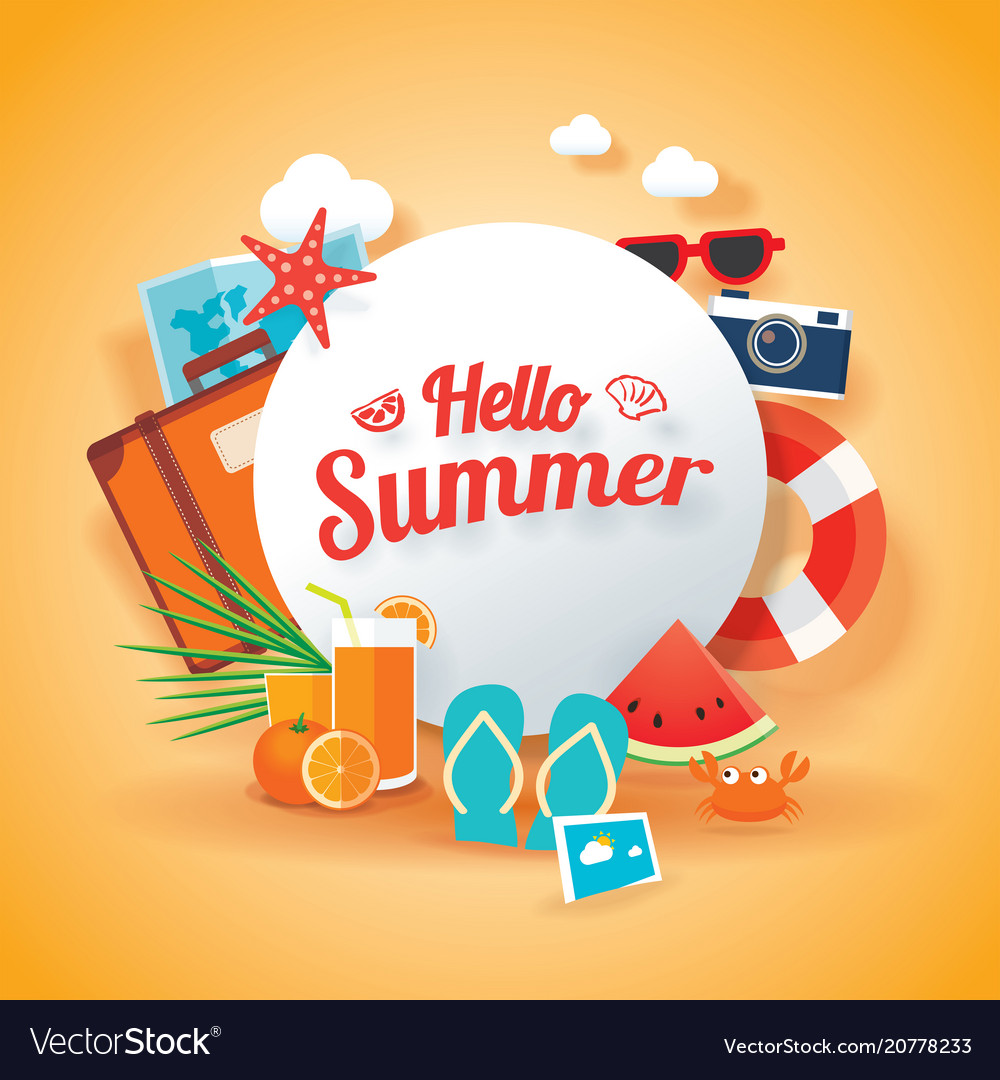 hello summer banner background template royalty free vector