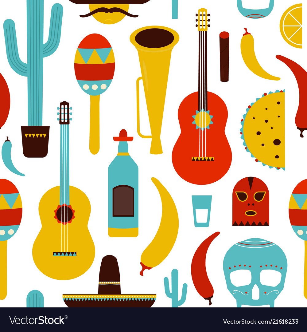 Motley mexico seamless pattern with traditional