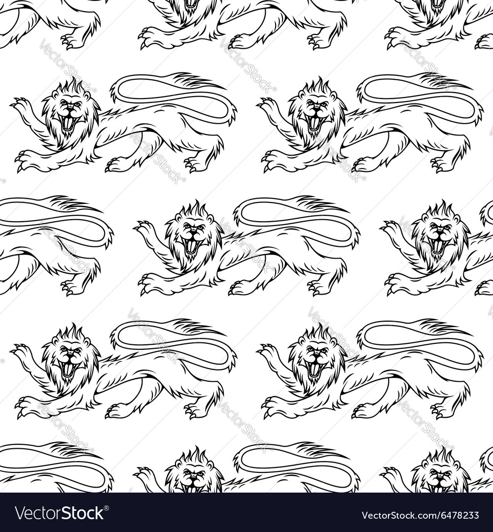 Royal heraldic lions seamless pattern
