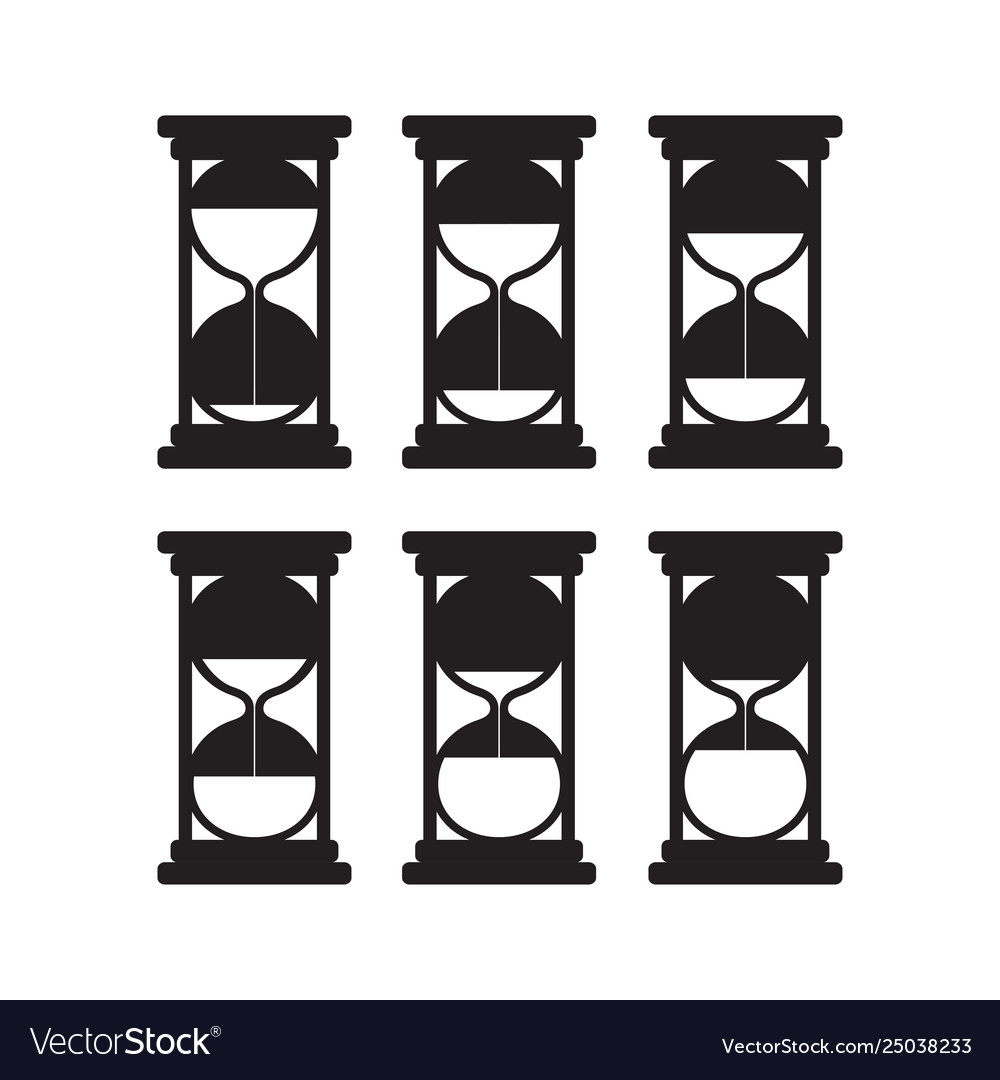 Set black silhouettes hourglasses