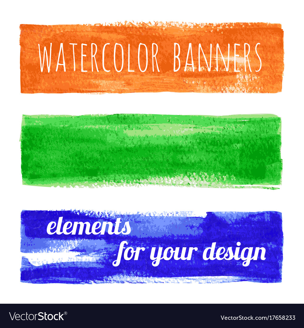 Set of watercolor paint texture banners