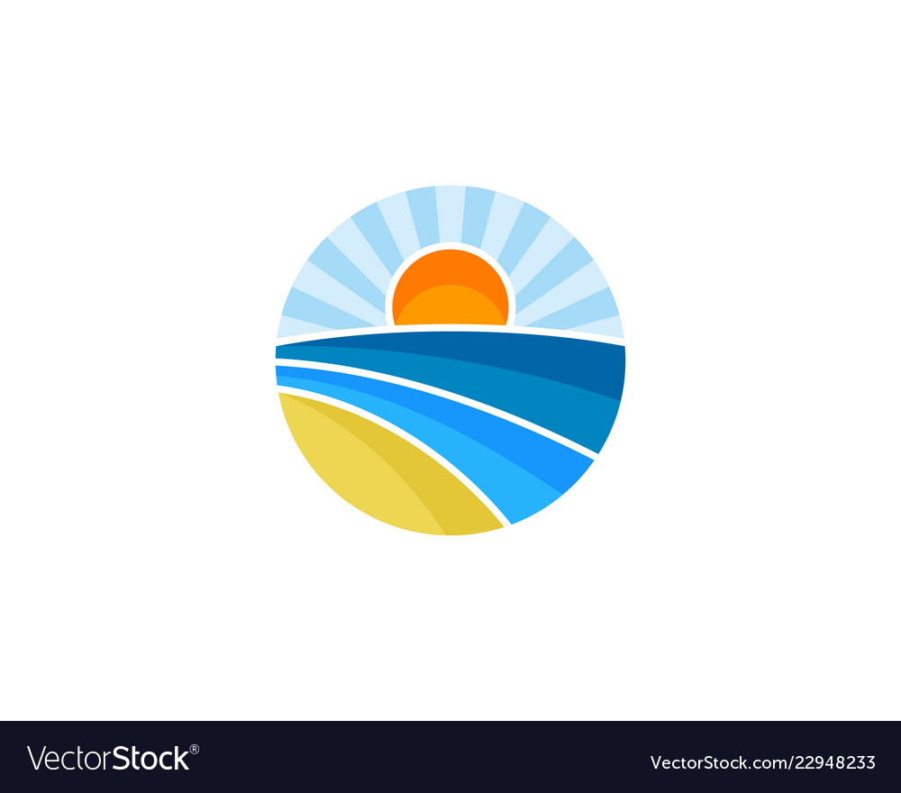 Sunset travel logo icon design