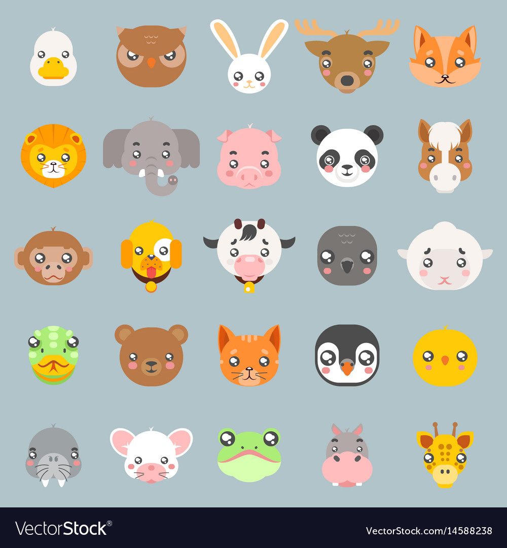 Animals cute baby cartoon cubs flat design head vector image
