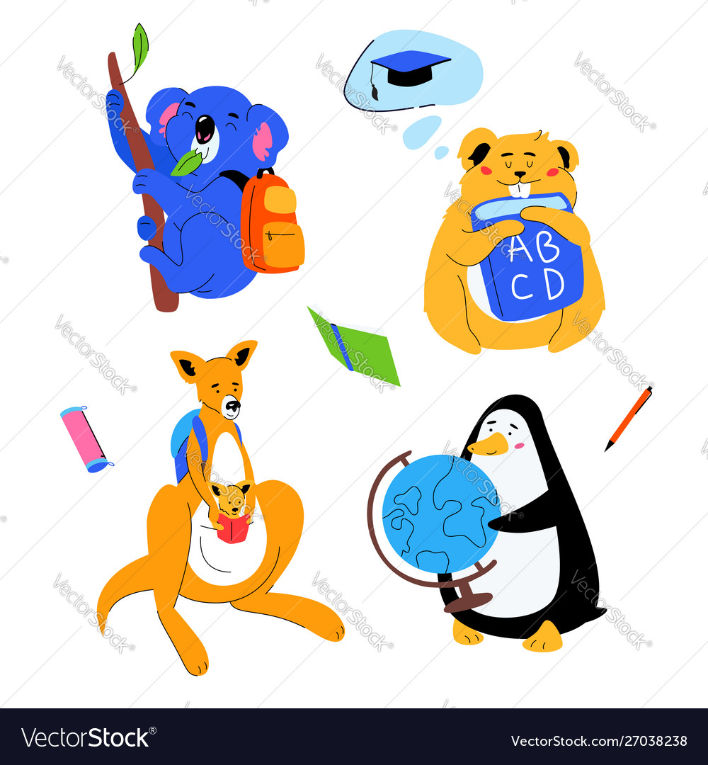 Animals students - flat design style set of