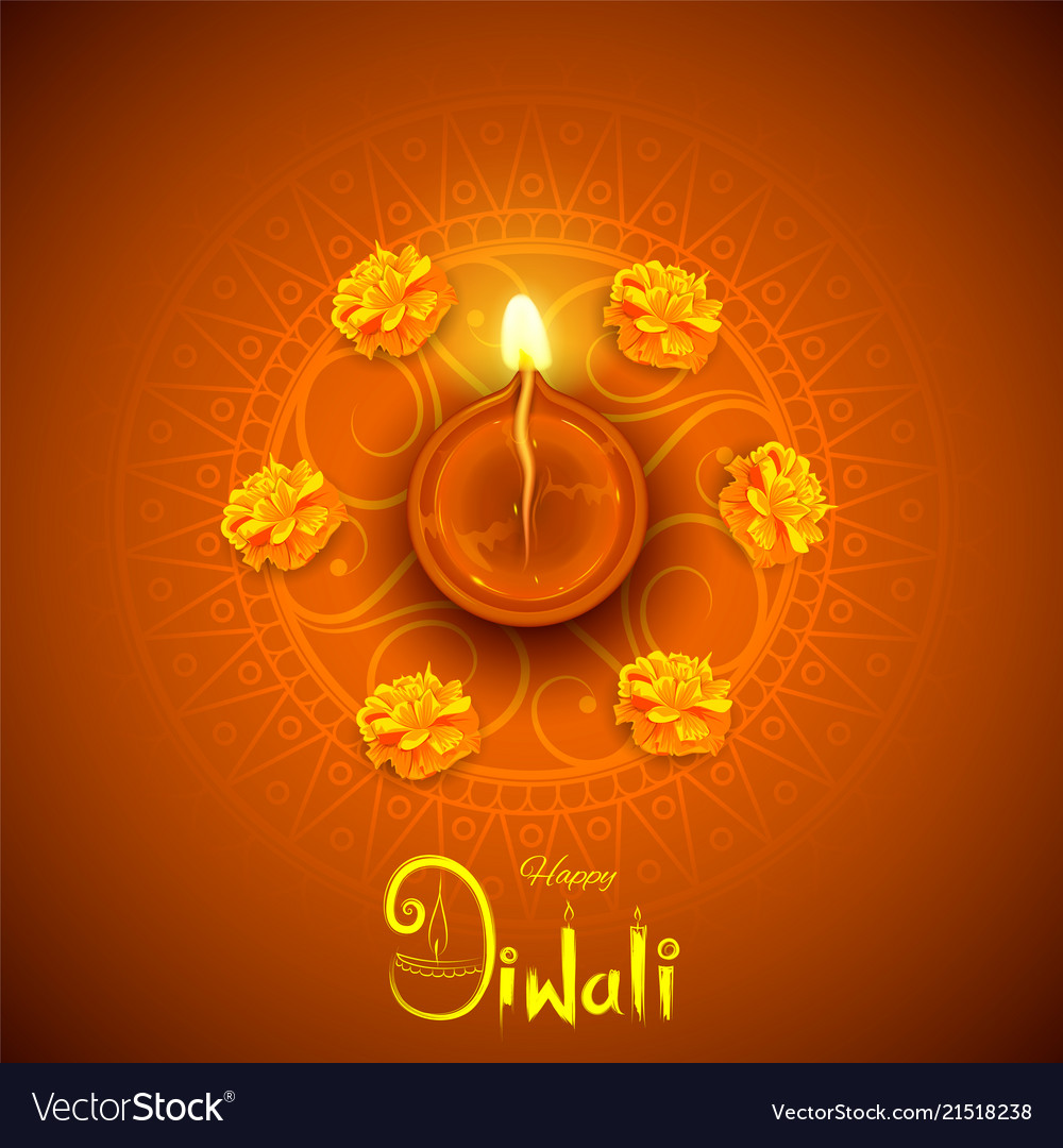 Burning diya on happy diwali holiday background