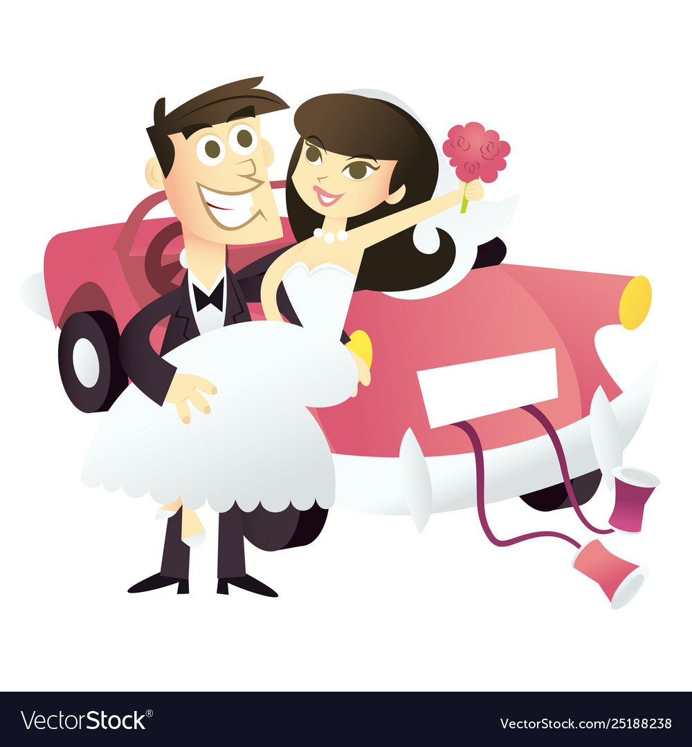 Cartoon Just Married Wedding Couple Royalty Free Vector