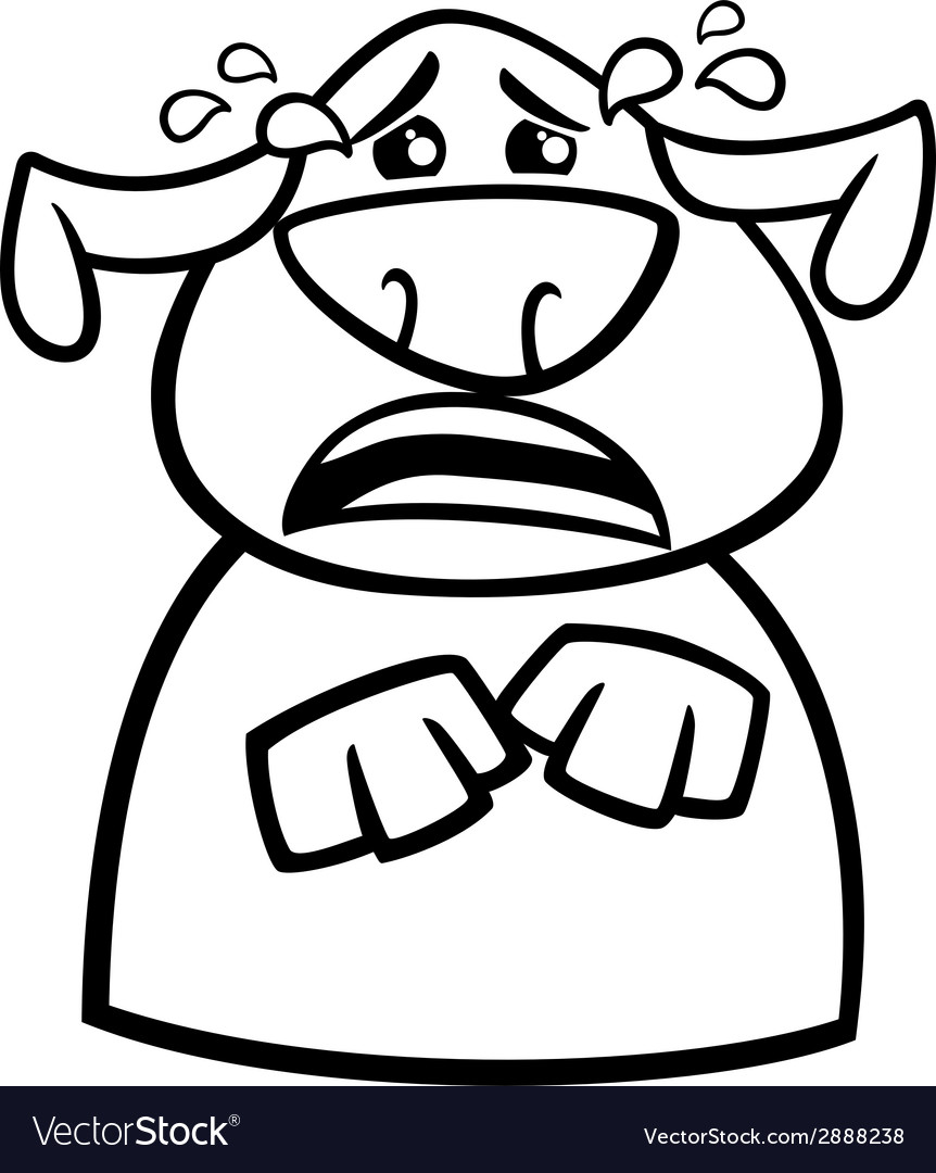 Crying dog cartoon coloring page vector image