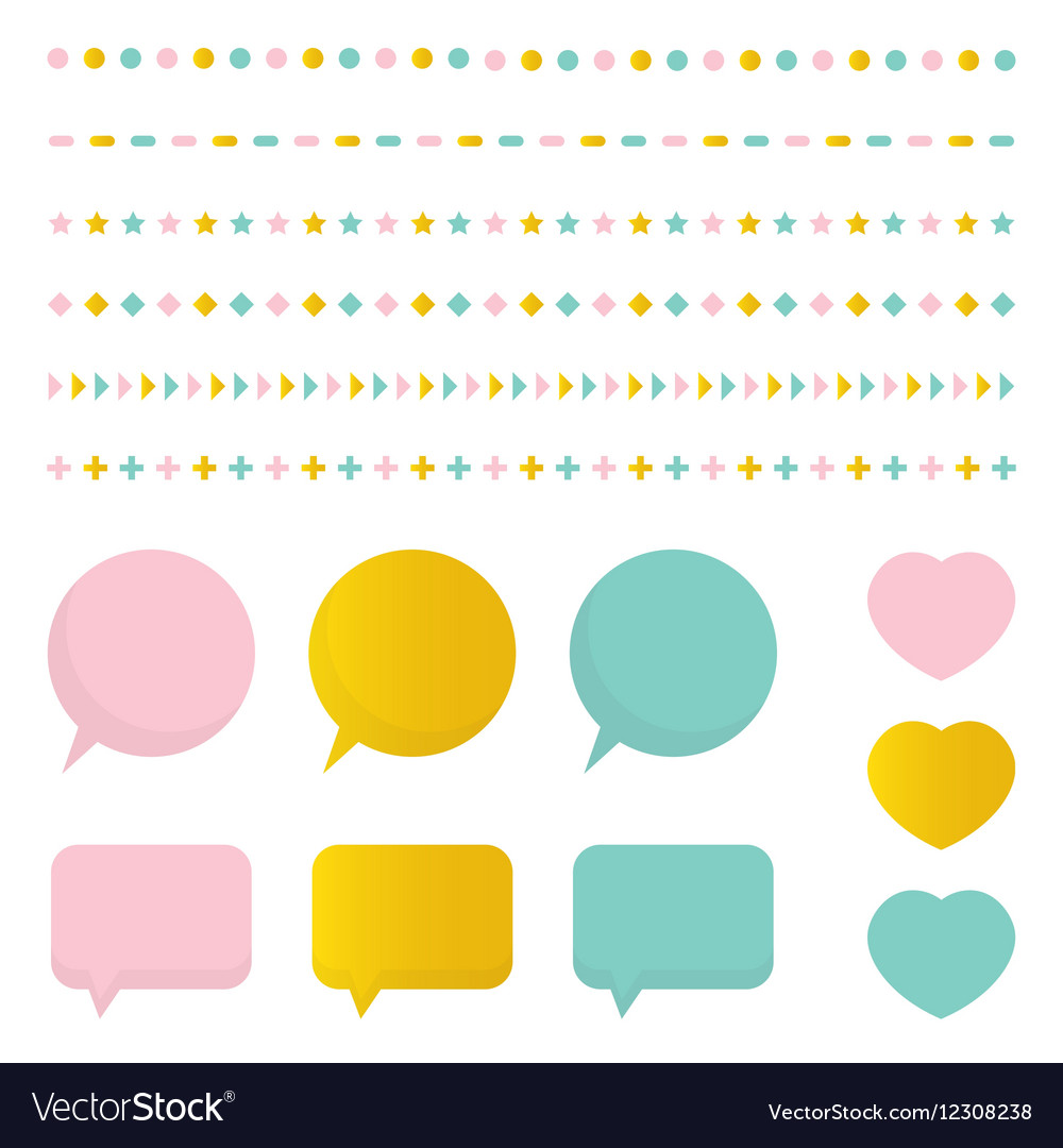 Cute colorful set collection of design elements vector image