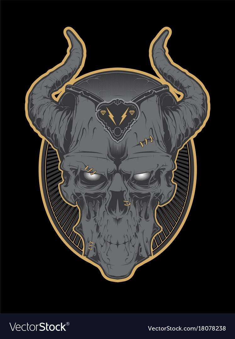Decrepit evil cartoon skull with horns