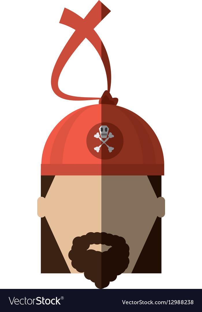 Face pirate corsair bandana beard shadow vector image