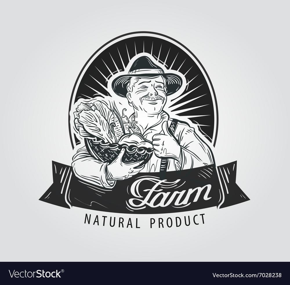 Fresh vegetables food logo design template