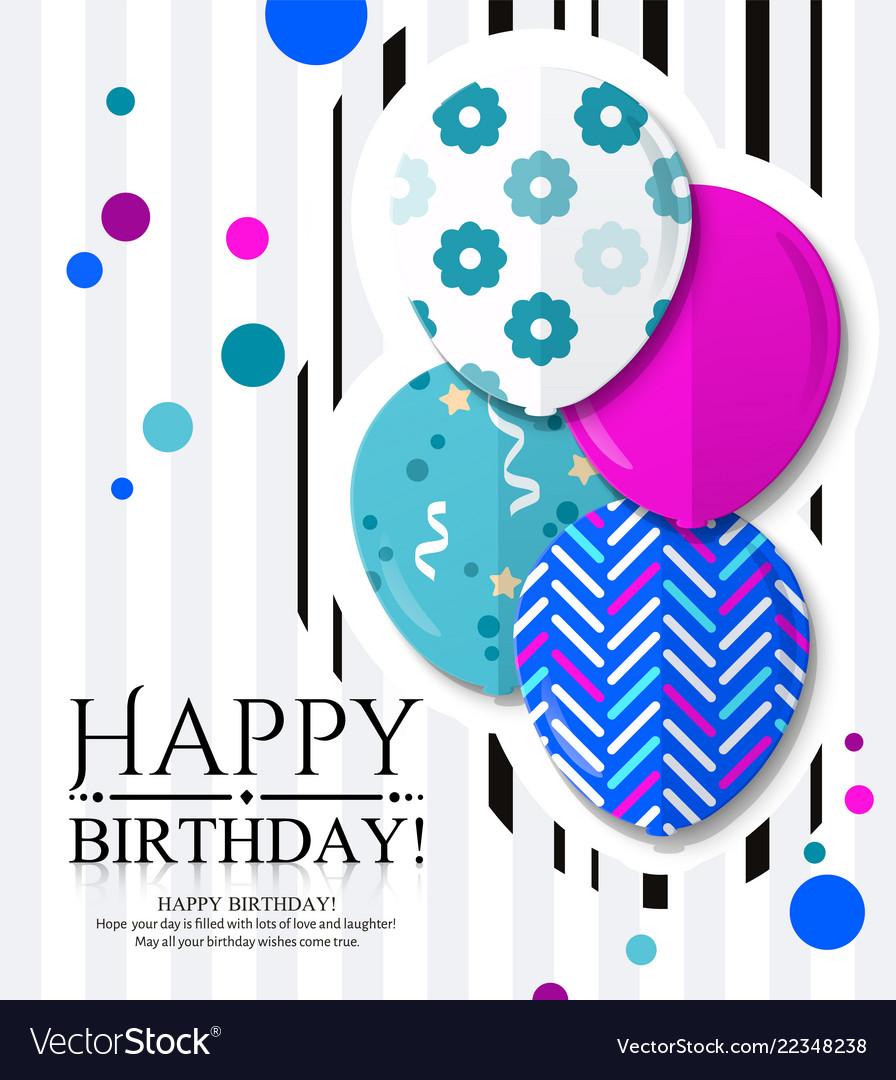 Happy Birthday Invitation Card With Balloons