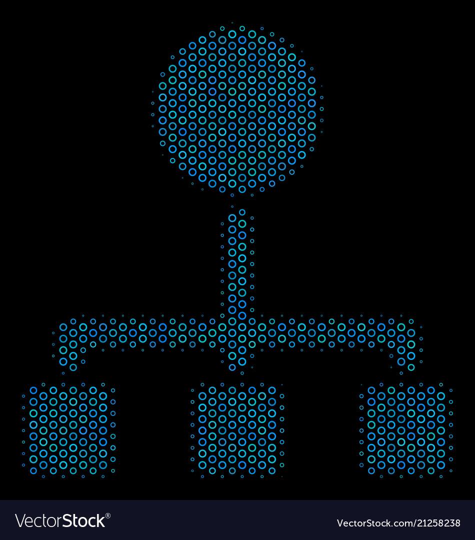 Hierarchy collage icon of halftone spheres