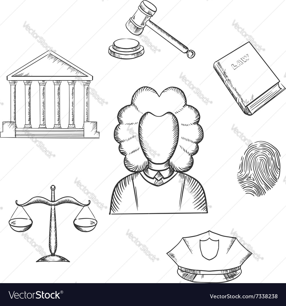 Law judge and justice sketched icons