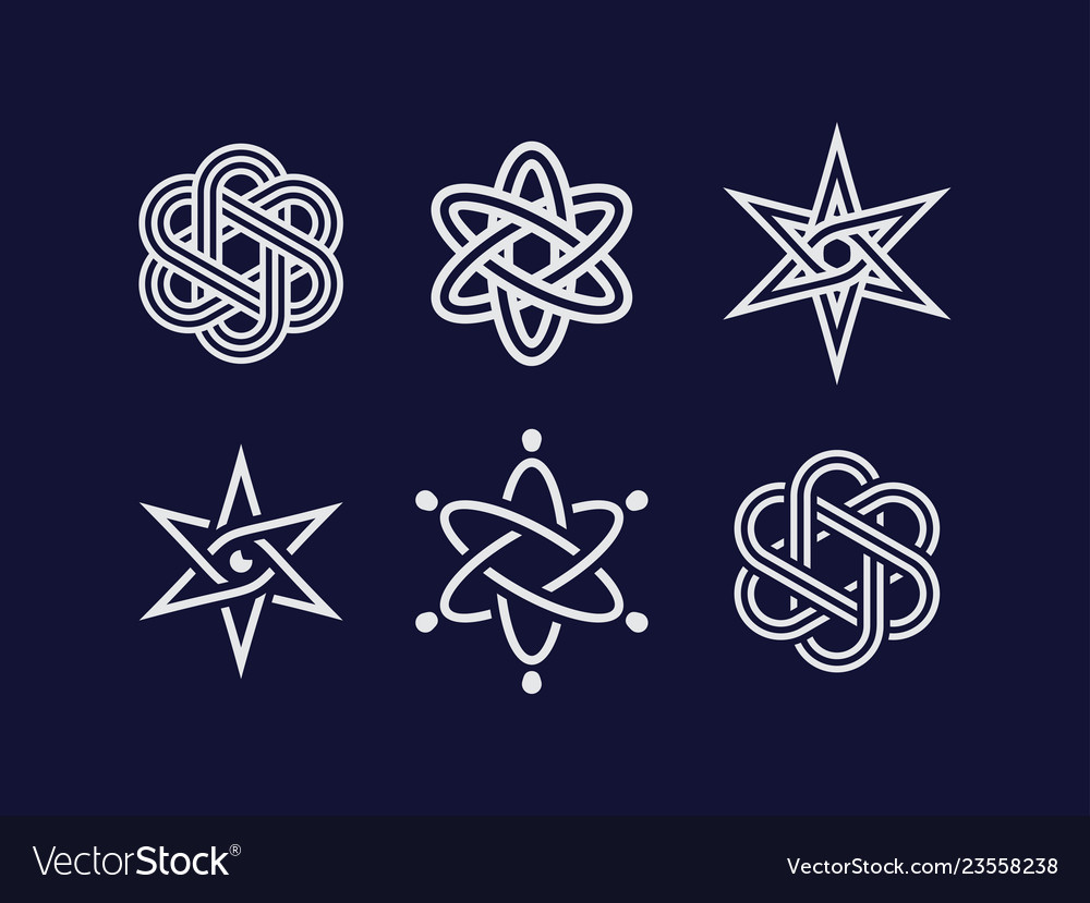 Modern professional atom elements and symbols set