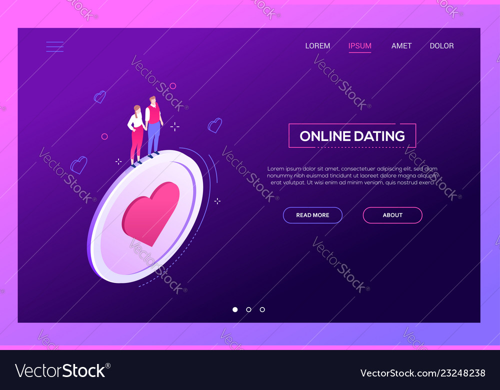 Online dating - modern isometric web banner