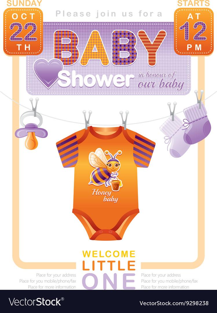 Unisex baby shower invitation design with body