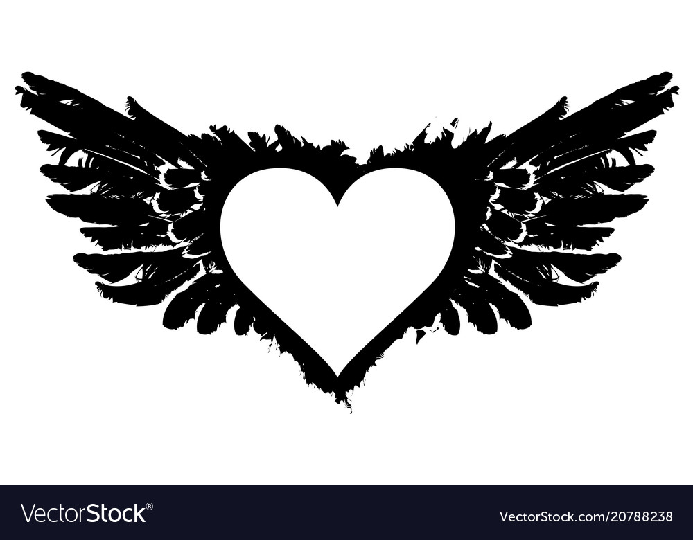White abstract flying heart with black wings