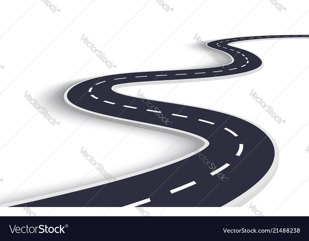 Winding road on a white isolated background road