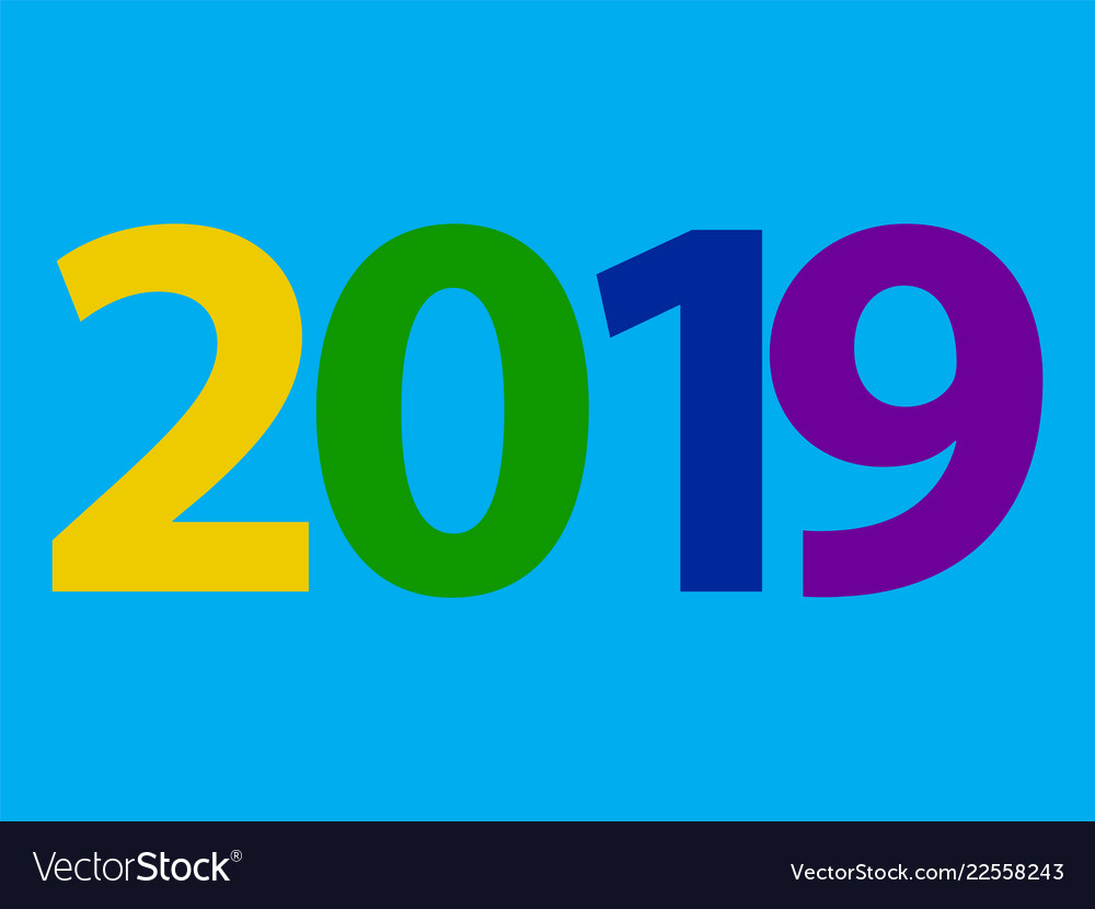 2019 happy new year design with text on