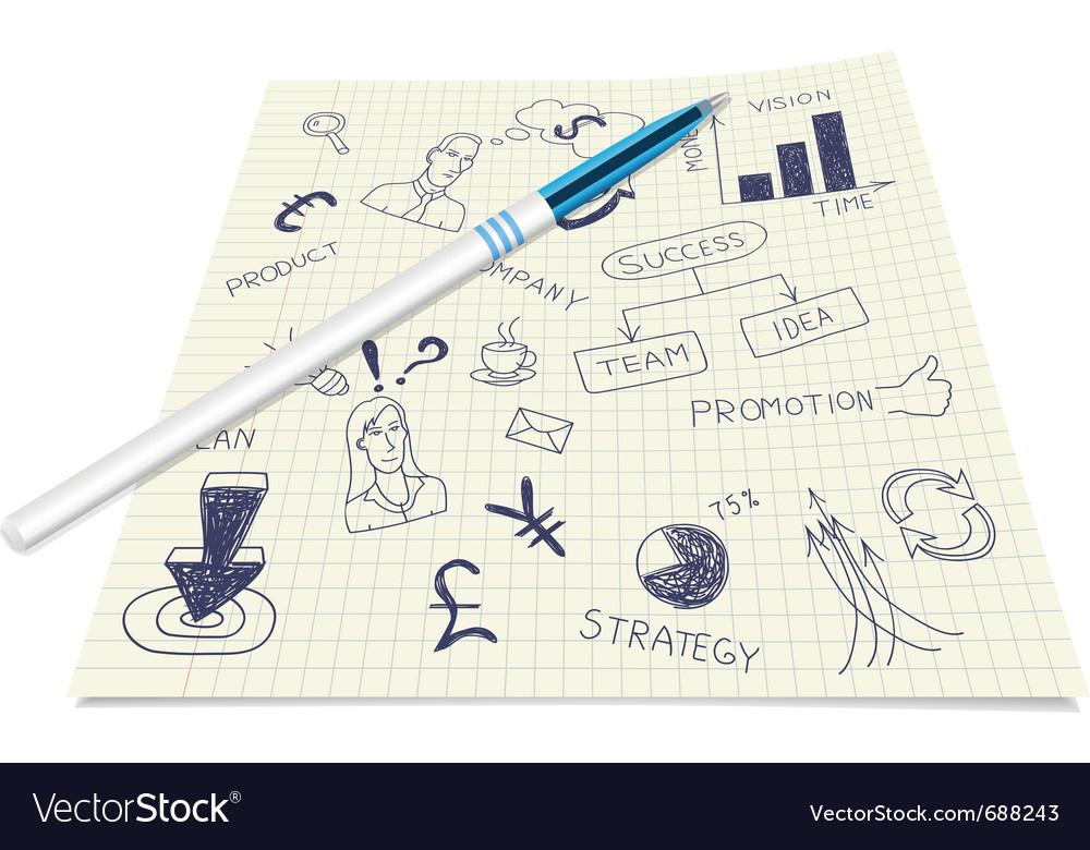 Business ink doodles vector image