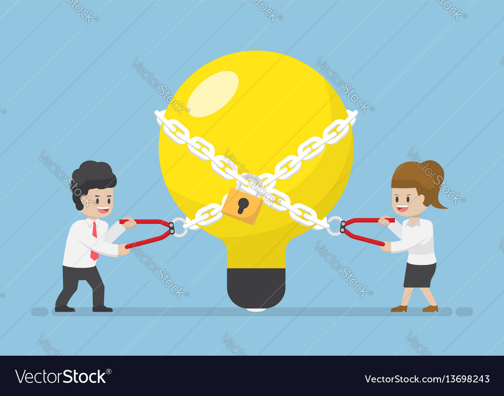 Businessman trying to unlock light bulb of idea vector image