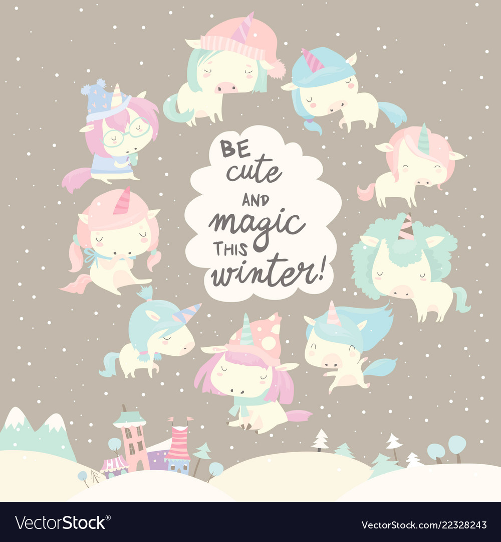 Collection of funny unicorn on gray winter
