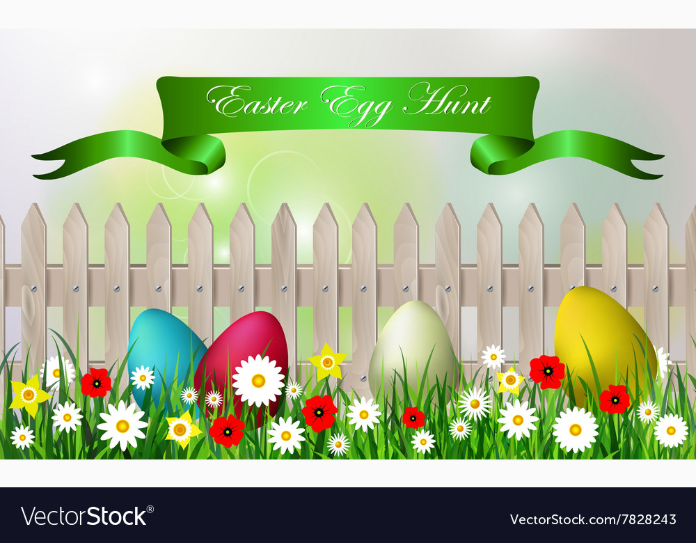 Easter egg hunt background vector image