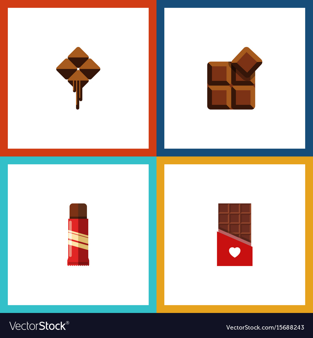 Flat icon sweet set of sweet chocolate delicious
