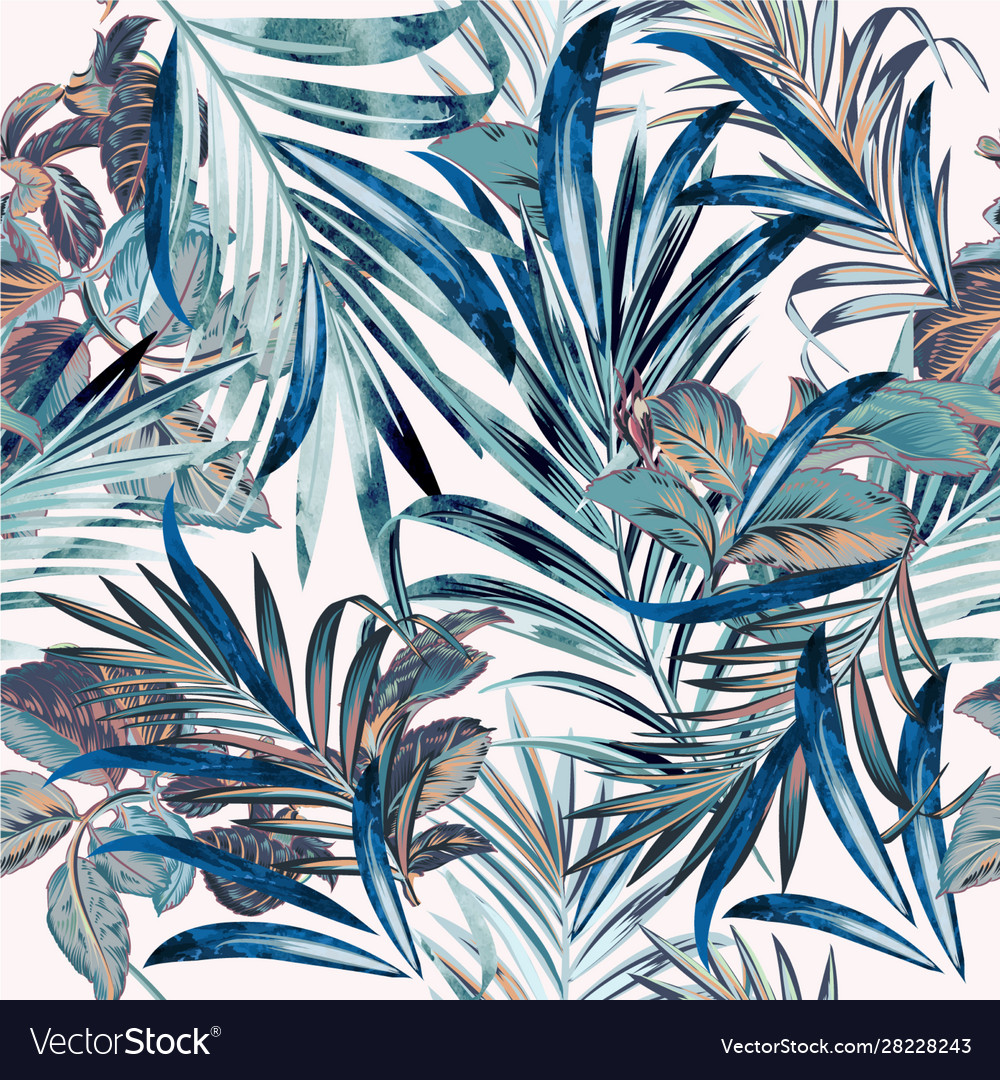 Floral fashion tropical pattern with palm leaves