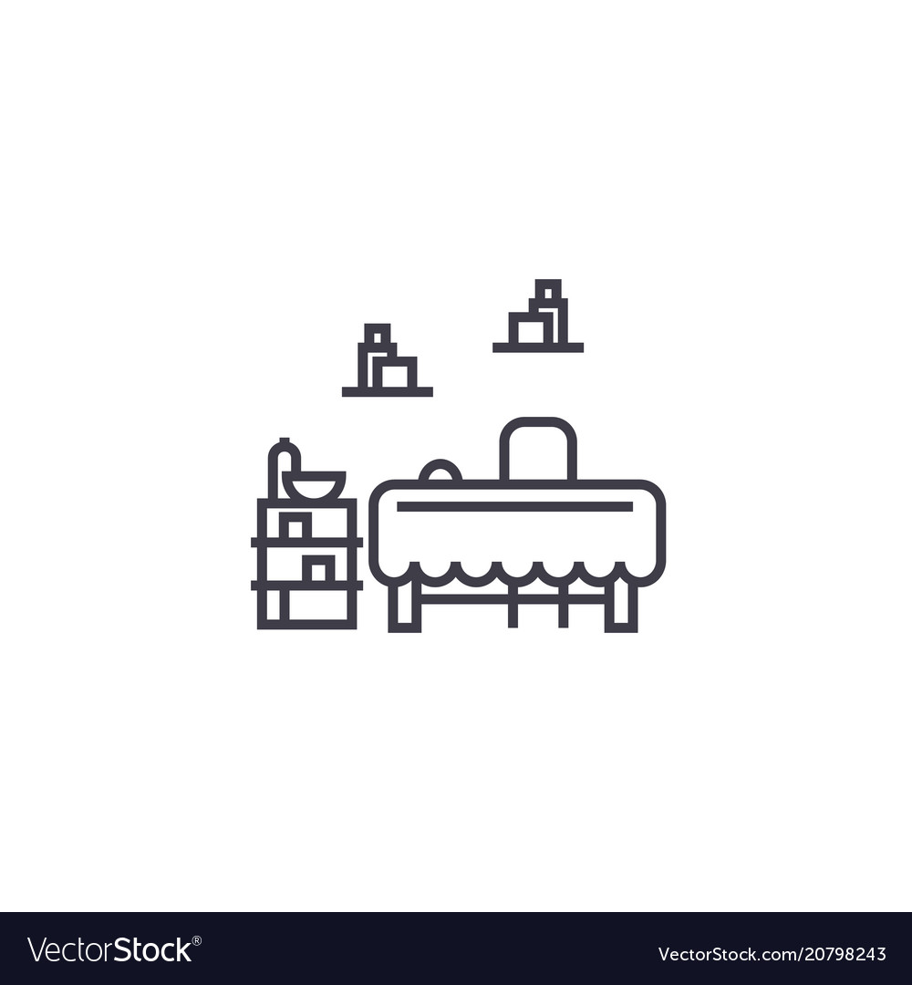 Furniture set line icon sign vector image