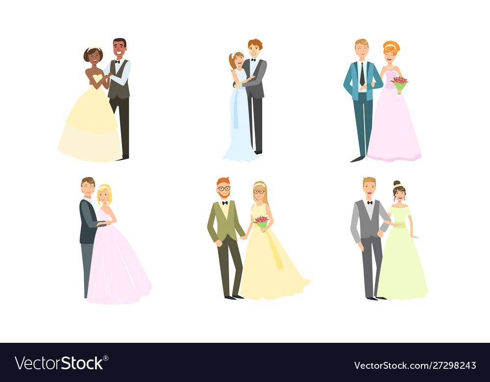 Happy just married couples set elegant newlyweds