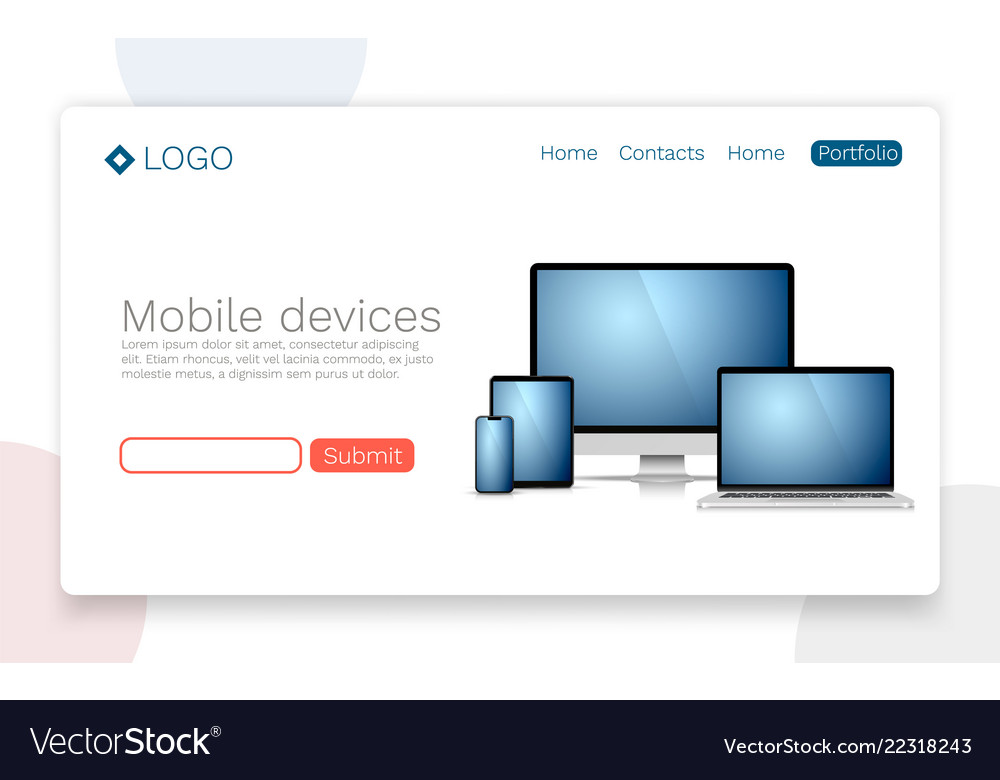 Mobile devices landing page concept